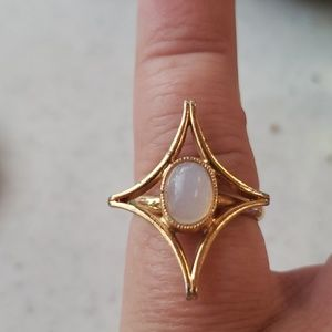 Faux pearl stone ring